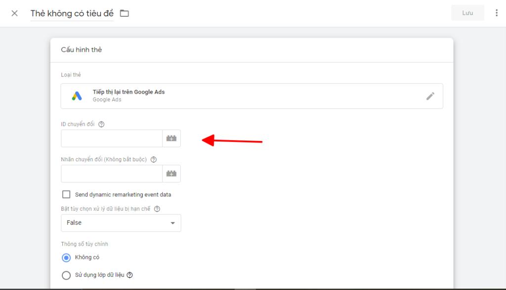 gán mã tiếp thị lại remarketing google ads